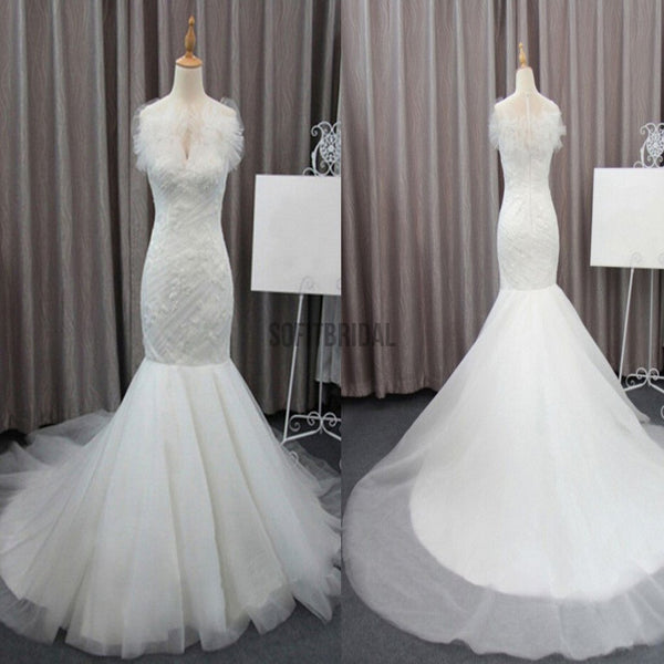 Gorgeous Elegant White Lace Mermaid Tulle Wedding Party Dresses, Bridal Gown, WD0072 - SofitBridal
