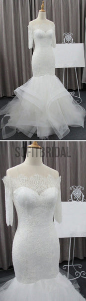 Vantage Off Shoulder Half Sleeve Lace Sexy Mermaid Wedding Party Dresses, WD0075 - SofitBridal