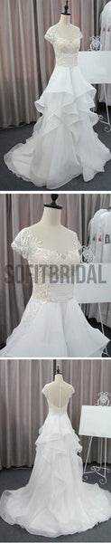 Cap Sleeve Beautiful Lace Wedding Party Dresses, Cheap Chiffon Bridal Gown, WD0076 - SofitBridal