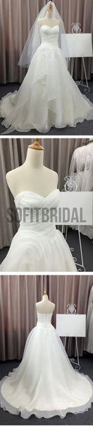 Simple Elegant Sweetheart White Chiffon Wedding Party Dresses, Cheap Bridal Gown, WD0077 - SofitBridal