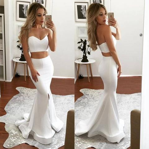 2 Pieces White Sweetheart Mermaid Front Slit Mermaid Popular Long Prom Dresses, PD0314 - SofitBridal