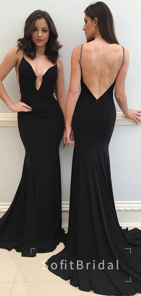 Charming Mermaid Deep V-Neck Spaghetti Straps Open Back Black Long Prom Dresses,STPD0008