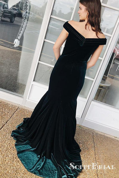 Off the Shoulder Dark Green Velvet Long Cheap Evening Prom Dresses, TYP0156