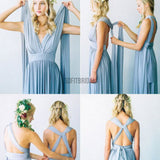 Convertible Simple Blue Jersey High Quality Handmade Custom Make Floor-Length Cheap Bridesmaid Dresses, WG80 - SofitBridal