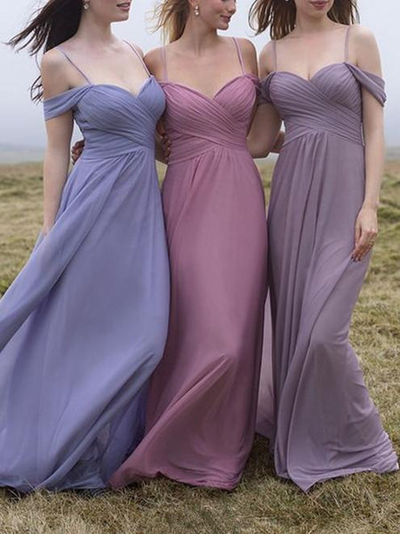 2019 Tube Top Sweetheart Pleats Off-shoulder Chiffon Sexy Full Gown, Bridesmaid Dress, EME0029