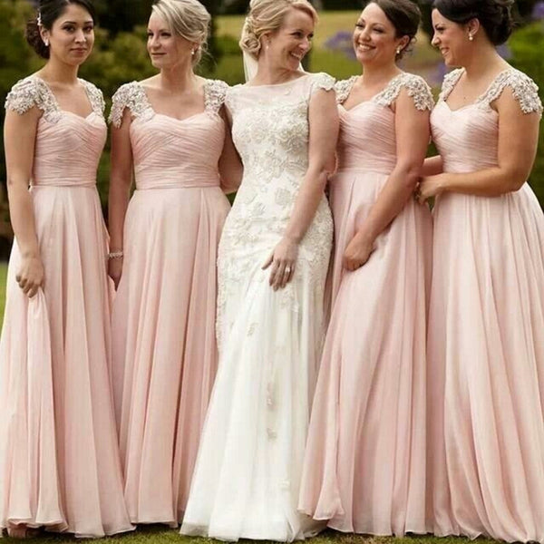 Pretty Junior Cap Sleeve Blush Pink Chiffon Formal A Line Floor-Length Cheap Bridesmaid Dresses, WG85 - SofitBridal