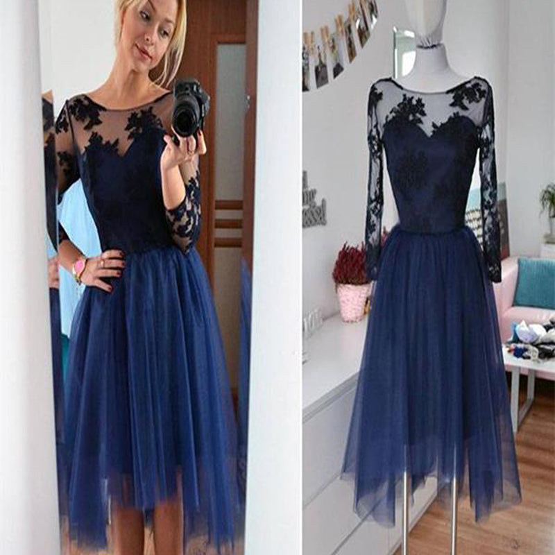 Navy long sleeve lace see through tulle simple modest casual homecoming prom gown dress,BD0086 - SofitBridal