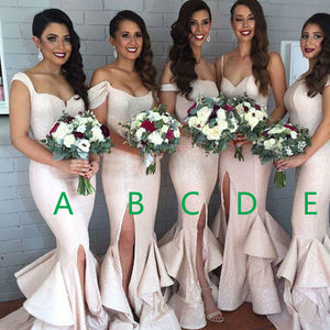 Mismatched Unique Design Different Styles Sexy Mermaid Side Split Women Charming Sequin Cheap Bridesmaid Dresses, WG88 - SofitBridal
