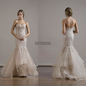 Sweetheart Sexy Mermaid Lace Backless Wedding Party Dresses, Organza Bridal Gown, WD0087 - SofitBridal
