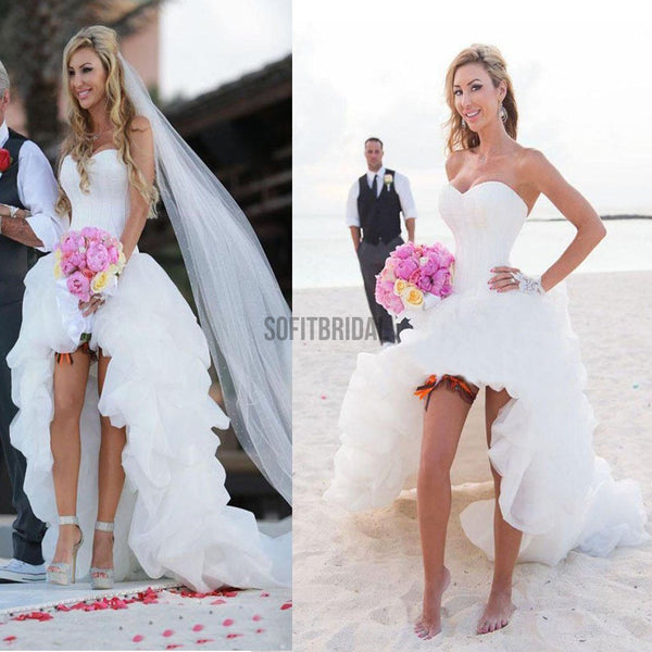 Hi-Low Simple Corset Sweetheart Chiffon Beach Wedding Dresses, Cheap Sexy Bridal Gown, WD0008 - SofitBridal