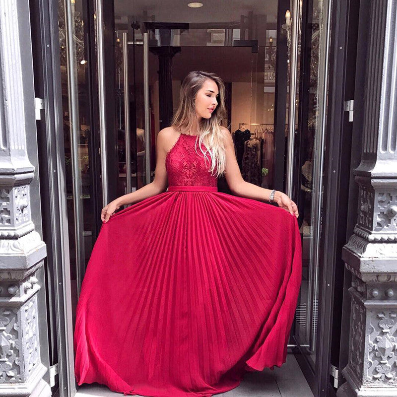 Halter Red Lace Top A-line Prom Dresses, Cheap Popular Long Prom Dresses, PD0315 - SofitBridal