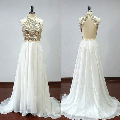 Sleeveless Sequin Top Backless Long A-line White Chiffon Prom Dresses, PD0287
