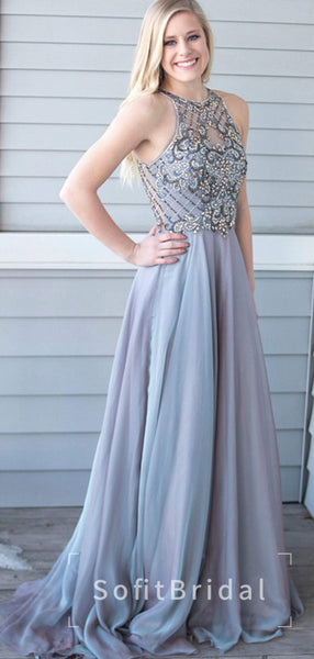 A-Line Halter Chiffon Sleeveless Cheap Long Prom Dresses With Beading,STPD0009