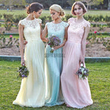 Different Colors Junior Pretty Cap Sleeve Small Round Neck Chiffon Top Lace Long Affordable Bridesmaid Dresses, WG91 - SofitBridal