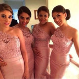 Charming One Shoulder Top Lace Mermaid Sexy Junior Pink On Sale Wedding Party Impressive Long Bridesmaid Dresses, WG93 - SofitBridal