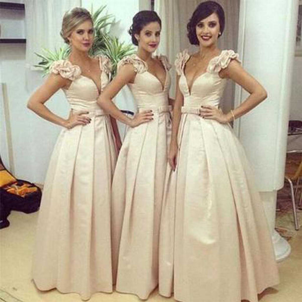 Gorgeous Off Shoulder V-Neck Sexy Affordable Wedding Party Bridesmaids Long Ball Gown, WG098 - SofitBridal