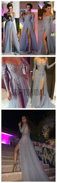 Long Prom Dresses, Gray Prom Dresses, Lace Prom Dresses, Off Shoulder V-neck Prom Dresses, Side Slit Sexy Prom Dresses, Evening Dresses, PD0021 - SofitBridal