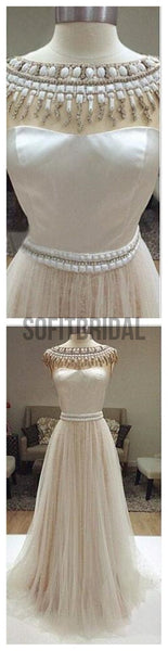 Long Ivory Prom Dresses, Charming Beaded Wedding Dresses, Tulle Prom Dresses, WD0126 - SofitBridal