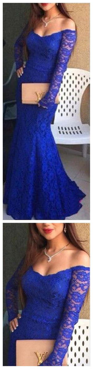 Off Shoulder Sexy Royal Blue Lace Mermaid Prom Dresses, Cheap Prom Dress - SofitBridal
