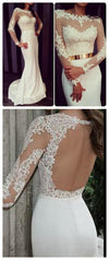 Newest White Prom Dresses, Long Sleeves Prom Dresses, Formal Prom Dresses, Sexy Prom Dresses, Charming Prom Dresses, Open Back Prom Dresses, Prom Dresses Online, PD0118 - SofitBridal