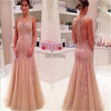 Dusty Pink Lace Mermaid Prom Dresses, Cheap Popular Long Tulle Prom Dresses - SofitBridal