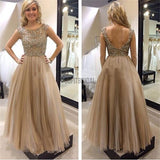 Charming Round Neck Rhinestone V-Back Prom Dresses, Long A-line Tulle Prom Dress - SofitBridal