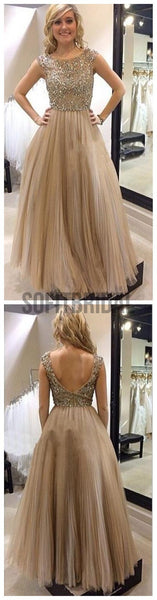 Charming Round Neck Rhinestone V-Back Prom Dresses, Long A-line Tulle Prom Dress