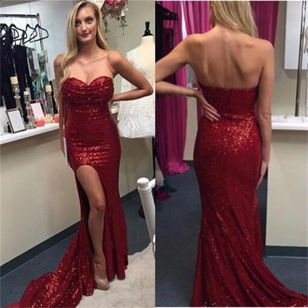 Red Sequin Sweetheart Side Slit Sparkle Prom Dresses, Sexy Formal Evening Dresses