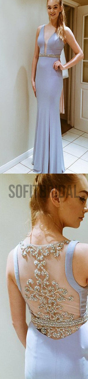 Deep V-Neck Prom Dresses, Side Slit Prom Dresses, Pretty Dresses, See-through Back Prom Dresses, Cocktail Prom Dresses, Evening Dresses, Long Prom Dress, Prom Dresses Online - SofitBridal