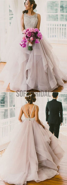 Long Fluffy Prom Dresses, Organza Wedding Dress, Backless Prom Dresses, Ball Gown, WD0125 - SofitBridal