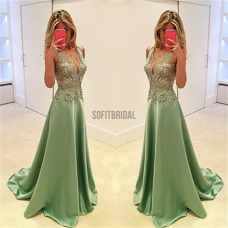 Deep V-Neck Prom Dresses, Stunning Prom Dresses, A-line Prom Dresses, Sexy Prom Dresses, Fashion Prom Dresses, Cocktail Prom Dresses, Evening Dresses, Long Prom Dress, Prom Dresses Online - SofitBridal