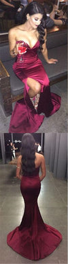 Sexy Burgundy Sweetheart Mermaid Side Slit Prom Dresses, Cheap Popular Satin Prom Dress