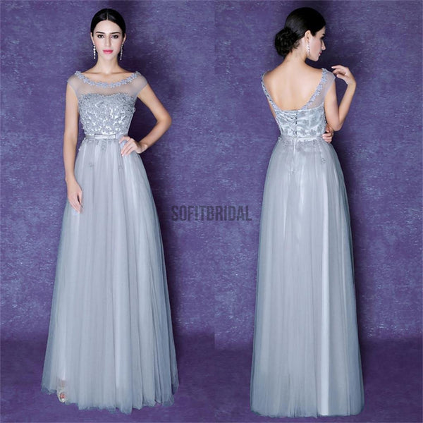 Gray Scoop Tulle Prom Dresses, V-Back Lace Prom Dresses, Bridesmaid Dress - SofitBridal