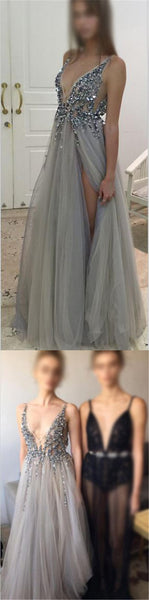 Sexy Deep V-Neck Side Slit Prom Dresses, New Arrival Silver Sequin Tulle Prom Dresses