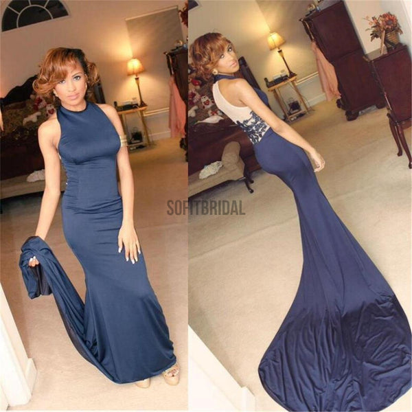 High Neck Prom Dresses, Blue Prom Dresses, Sexy Mermaid Prom Dresses, Party Dresses, Long Prom Dress - SofitBridal