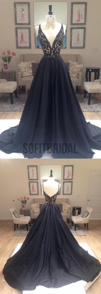 Deep V-Neck Prom Dresses, A-line Prom Dresses, Elegant Prom Dresses, Custom Prom Dresses, Party Dresses, Cocktail Prom Dresses, Evening Dresses, Long Prom Dress, Prom Dresses Online - SofitBridal