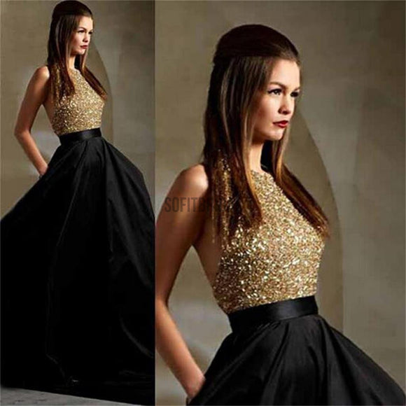 Long Prom Dresses, Black Prom Dresses, Party Prom Dresses, Ball Gown, A-Line Prom Dresses, Sparkle Prom Dresses, Cheap Popular Prom Dresses, PD0023 - SofitBridal