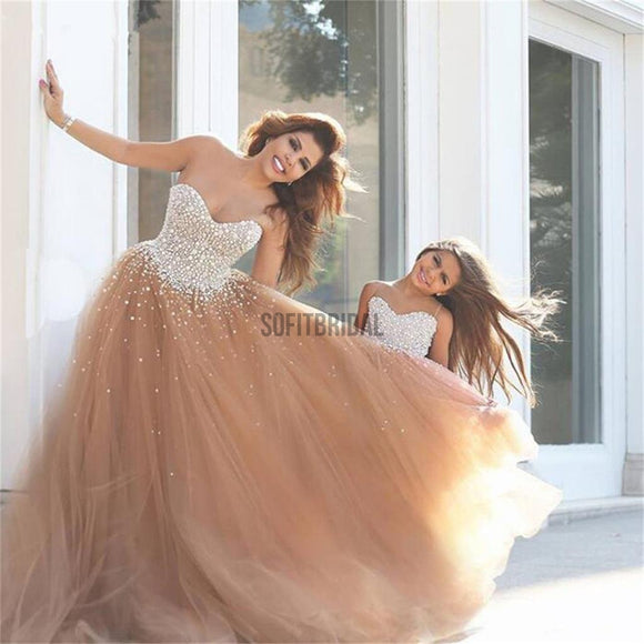 Sweetheart Tulle Prom Dresses, Popular Sequin Custom Wedding Dresses, Flower Girl Dresses, WD0130 - SofitBridal