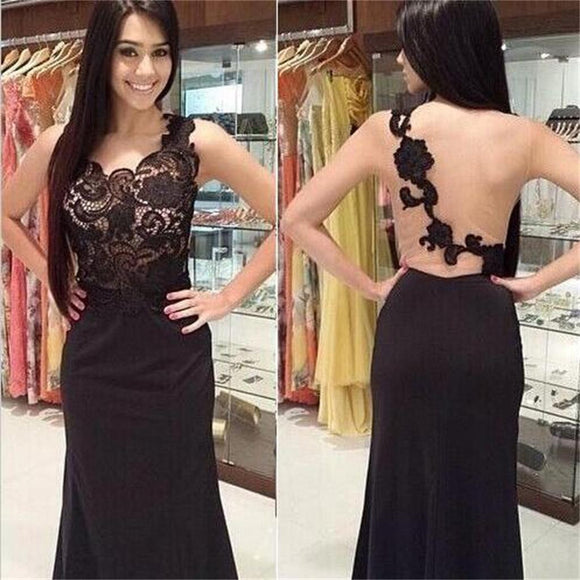 Pretty Black Lace One Shoulder Sexy Mermaid Prom Dress, Long Prom Dress