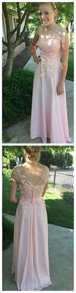 Pretty Pink Scoop Party Prom Dress,Cute Formal Long A-line Prom Dress