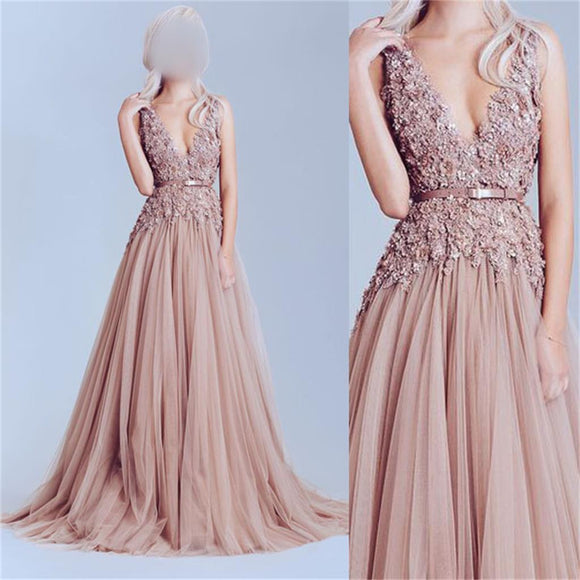 Dusty Pink Tulle Prom Dress, Off Shoulder Lace Prom Dress, Best Sale Prom Dress - SofitBridal