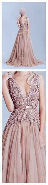 Dusty Pink Tulle Prom Dress, Off Shoulder Lace Prom Dress, Best Sale Prom Dress