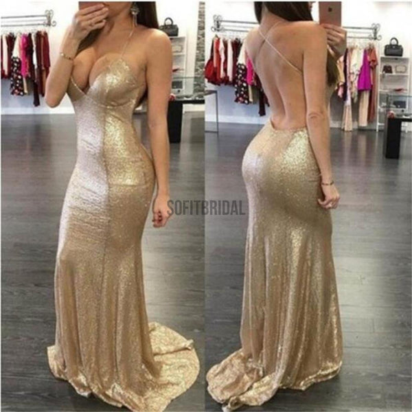 Gold Sequin Sexy Spaghetti Straps Mermaid Party Prom Dresses,Evening Prom Dresses - SofitBridal