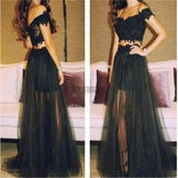 Black Prom Dresses, Off Shoulder Prom Dresses, Tulle Long Prom Dresses, Two Pieces Prom Dresses, Party Prom Dresses, Evening Prom Dresses - SofitBridal