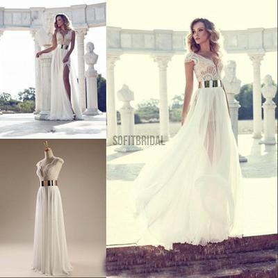 Cap Sleeves Prom Dresses, Sexy V-neck Side Slit Wedding Party Dresses, Popular Prom Dress, WD0121 - SofitBridal
