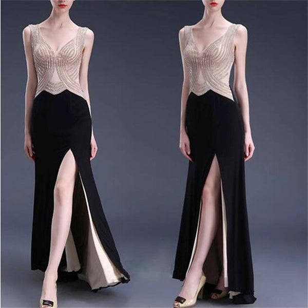 Sexy Black Side Slit Beading Formal Prom Dresses, Long Graduation Prom Dress