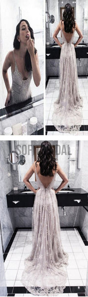 Sexy V-Back Lace Prom Dresses, Popular Backless Tulle Prom Dress, Bridal Gown, WD0128
