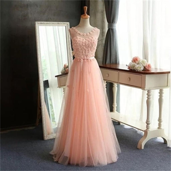 Pink Lace Long A-Line Scoop Tulle Prom Dresses, Cheap Simple Prom Dress - SofitBridal