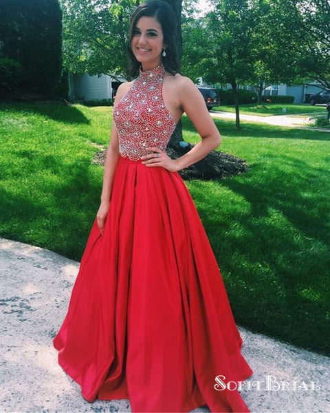 Charming Red Halter Top Beaded Long Cheap Satin Prom Dresses, TYP0127