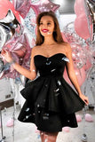 A-Line Sweetheart Short Black Tiered Satin Homecoming Dresses, TYP0280